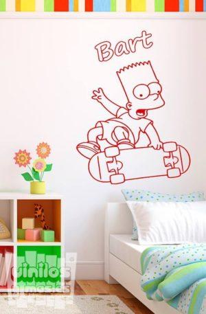Vinilo decorativo de Bart Simpson en monopatín