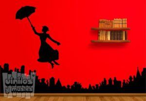 Vinilo decorativoMary Poppins + ciudad