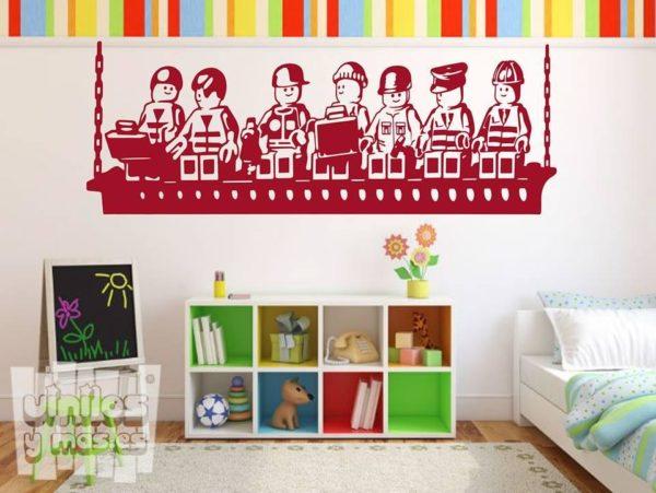 Vinilo decorativo infantil de trabajadores de lego.