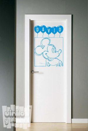 Vinilo decorativo infantil, dibujo de Mickey Mouse + nombre personalizado. Disney