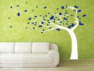 Vinilo decorativo árbol otoñal, 2 colores.