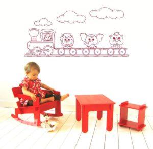Vinilo decorativo infantil del tren de los animales.