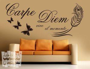 """Vinilo decorativo carpe diem """"vive el momento""""."""