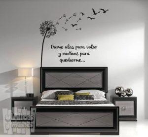 Vinilo decorativo frase, dame alas para volar y motivos para quedarme...