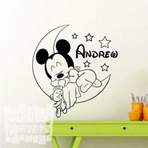 Vinilo decorativo infantil, Mickey Mouse dormido en la luna + nombre personalizado, Disney.