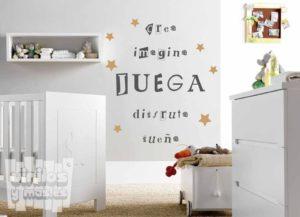 Vinilo decorativo infantil. palabras positivas habitación bebe. Crea, imagina, juega, disfruta y sueña + decoracion estrellas, 2 colores a elegir...