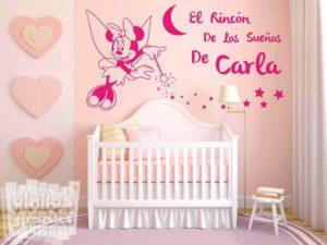 """Vinilo decorativo infantil, el rincón de los sueños de... """"nombre personalizado"""". Minnie Mouse - Disney"""