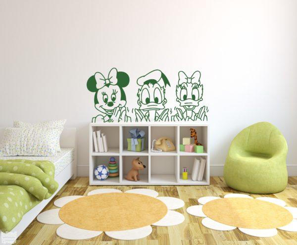Vinilo decorativo infantil de Donal, Minnie y Daisy. Disney