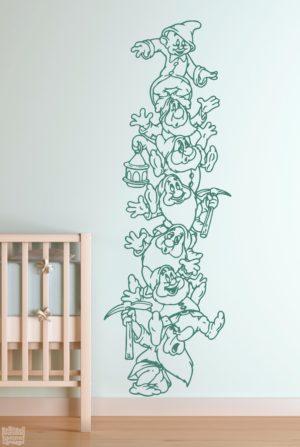 Vinilo decorativo de los 7 enanitos, de la películade Disney, Blancanieves.