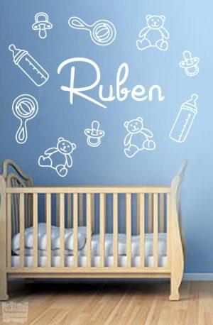"""Vinilo decorativo kit bebé """" biberón, chupete, peluche.."""" + nombre personalizado."""