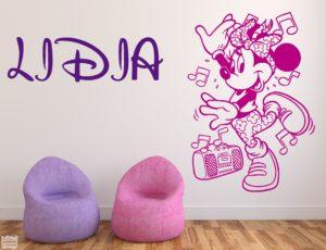 Vinilo decorativo de Minnie Mouse bailarina + nombre personalizado. Disney.