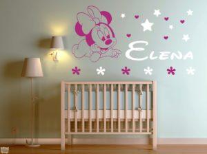 Vinilo decorativo de Minnie Mouse con estrellas + nombre personalizado. Disney.