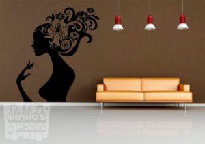 vinilo decorativo mujer floral
