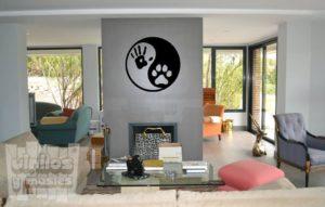 Vinilo decorativo Yin y yang, huella mano-pata.