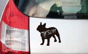 Vinilo decorativo Bulldog francés + nombre personalizado