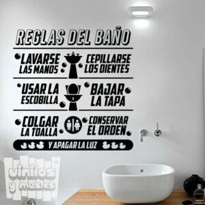 Vinilo decorativo Reglas del baño