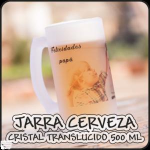 "Jarra cerveza de cristal translucido personalizada ""500 ML"""