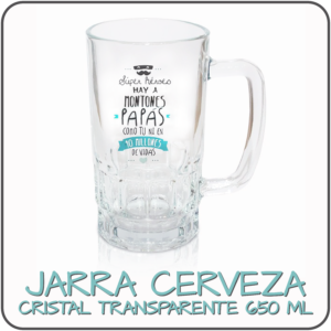 JARRA CERVEZA CRISTAL TRANSPARENTE 650 ML personalizada