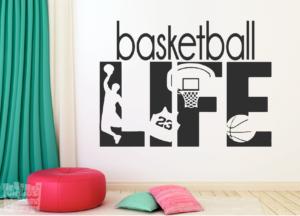 "Vinilo decorativo baloncesto ""basketball life"""