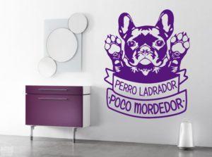 """Vinilo decorativo Bulldog francés """" perro ladrador, poco mordedor"""""""