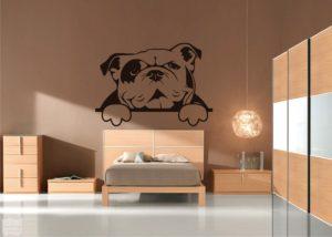 Vinilo decorativo Bulldog ingles asomado