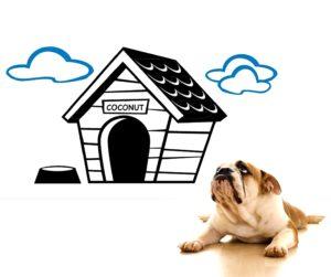 Vinilo decorativo caseta de perro con nombre personalizado