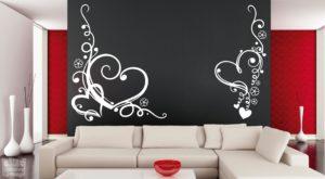 Vinilo decorativo de corazones florales, 2 piezas.