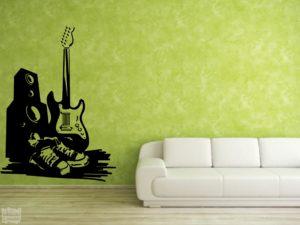 Vinilo decorativo altavoz y guitarra