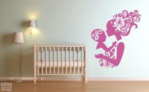 Vinilo decorativo madre e hijo floral