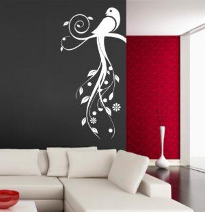 Vinilo decorativo pájaro cola floral.
