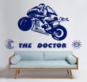 """Vinilo decorativo Valentino Rossi """"the doctor"""" sol y luna"""