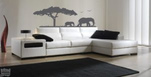 Vinilo decorativo sabana elefantes.