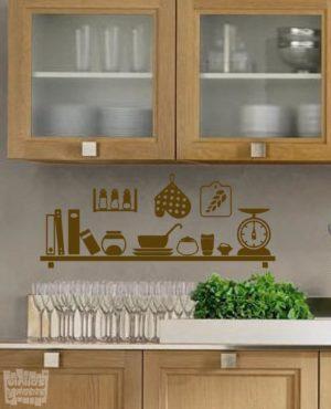 Vinilo decorativo utensilios cocina estante