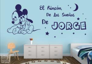 """Vinilo decorativo el rincon de los sueños """"mickey y pluto"""" + nombre personalizado"""