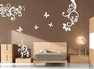 Vinilo decorativo conjunto floral 3 piezas + mariposas