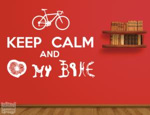 Vinilo decorativo: keep calm and love my bike