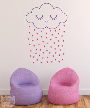 """Vinilo decorativo nube """"lluvia corazones"""""""