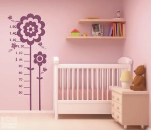 Vinilo decorativo medidor infantil flores