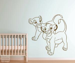 """Vinilo decorativo de Simba y Nala """"el rey león"""""""