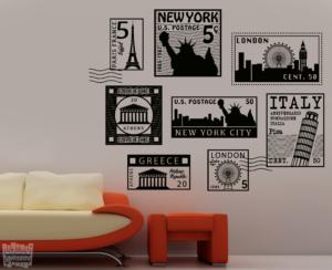 Vinilo decorativo sellos históricos de ciudades