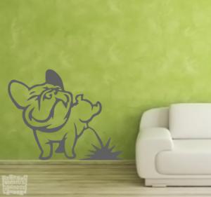Vinilo decorativo bulldog francés haciendo pipi