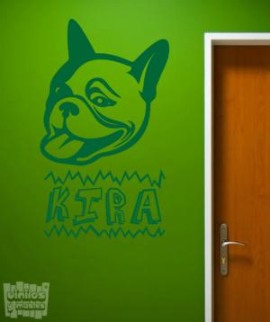cara bulldog francés con nombre personalizado