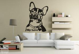 "Vinilo decorativo de Bulldog Francés ""my love"""