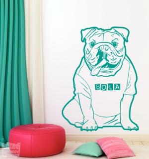 Vinilo decorativo de Bulldog Ingles con nombre personalizado