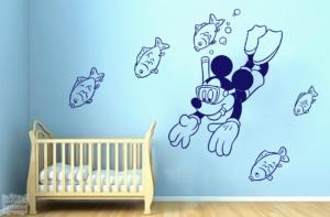 Vinilo decorativo Mickey Mouse buceo