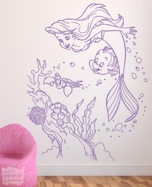 """Vinilo decorativo Ariel, Sebastian y Flounder """"La sirenita"""""""