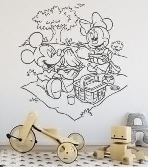 mickey y minnie picnic - vinilosymas.es