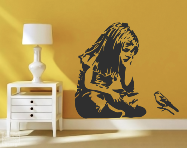 Vinilo decorativo dibujo de Banksy, chica pequeño pájaro.