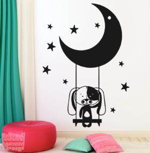 Vinilo decorativo dibujo de Perrito columpio luna.