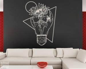 Vinilo decorativo dibujo Girasol en bombilla.